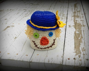 Scarecrow Beanie Hat - Crochet Pattern 64 - US and UK Terms - Newborn to Adult - Instant DOWNLOAD