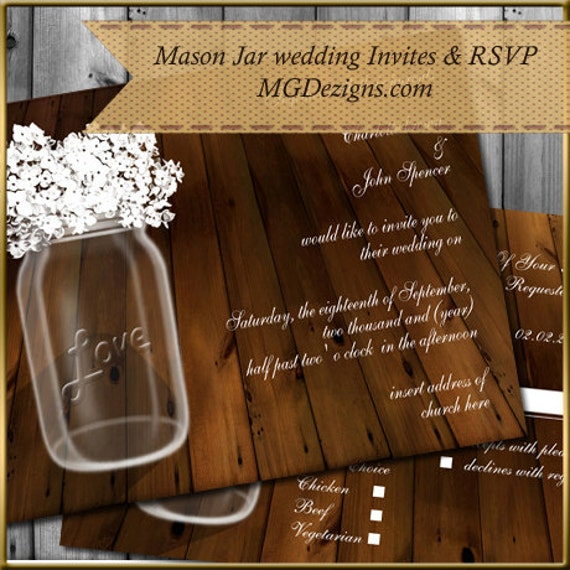 Printable Rustic Barnwood Hydrangeas in a Mason Jar wedding  Invites and RSVP