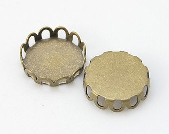 FREE SHIPPING within USA,50 pcs Antique Bronze Cabochon settings, inner tray 10mm