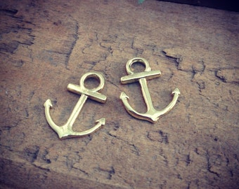 4 Pcs Anchor Charms 24K GOLD plated Anchor Charm Nautical Charm Sailor Charm Pirate Vintage Style Pendant Charm Jewelry Supplies (BC075)