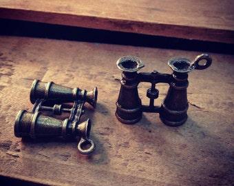 Binocular Charm Nautical Antique Bronze Explore Adventure Boy Scout Hunting Aviator Binoculars Moonrise Kingdom  (C022)