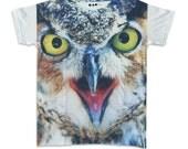 Owl Face Portrait Nature Wildlife Rock Bird T-shirt Art Stunning Charm Animal Design Men Women Unisex Sz M