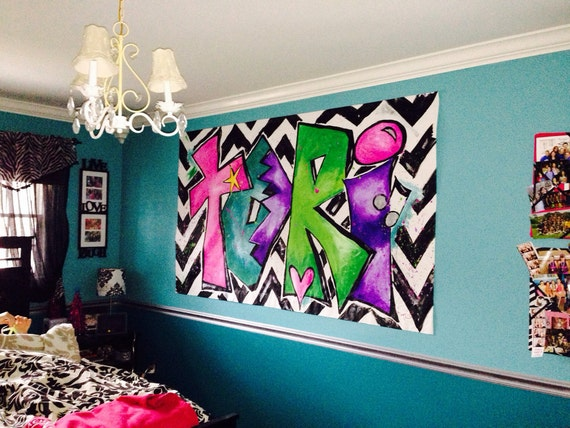 Personalized painting for tween girls room large canvas art for Teen wall decor