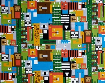 SALE - 1/2 yd  Andover Fabrics - In Plain Sight - Animal Shapes and Faces - Warm Tones- Novelty Fabric
