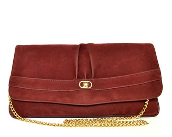 Vintage Burgundy Suede Clutch Vtg Burgundy Leather Clutch Chain Shoulder Bag