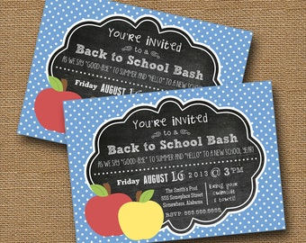 Back to School Invitation   End of Summer Party   Teacher Open House   Chalkboard Invitation   DIY PRINTABLE   Back to School Bash   Apples