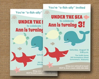 Ocean Birthday Party Invitation | Under the Sea Party | Boy or Girl Swim Party Invite | Cute Sea Animals, Shark, Whale, Fish | DIY PRINTABLE