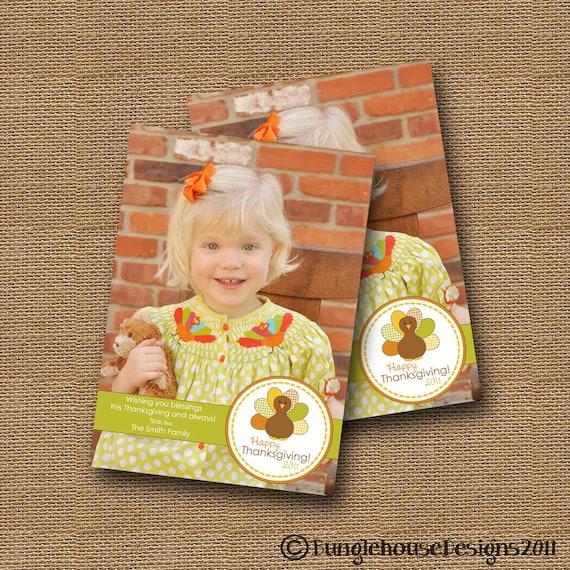 Thanksgiving Photo Card | DIY PRINTABLE | Happy Thanksgiving | Gingham Turkey Photo Card | Printable Thanksgiving Photo Greeting Card