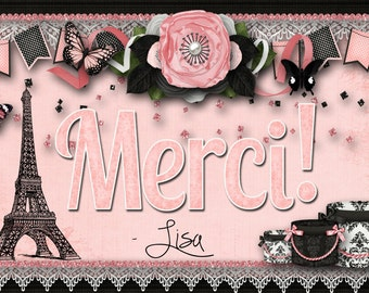 Paris Themed Thank you Card