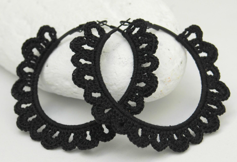 crochet hoop earrings crochet jewelry big earrings black