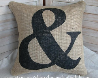 Burlap Ampersand Pillow- Burlap Pillows- Pillow-Decorative Pillow-Burlap Pillow-Contemporary Pillow-Modern Pillow-Ampersand