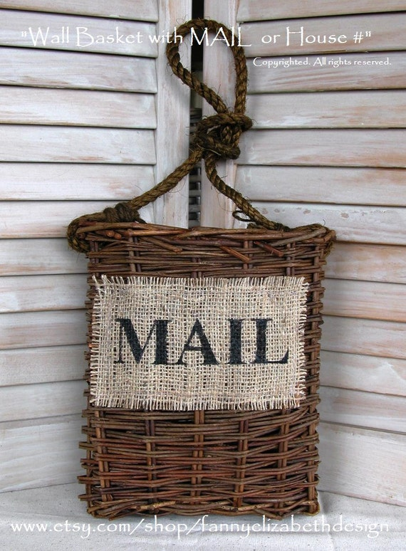wall mail basket free shipping shabby chic by fannyelizabethdesign. Black Bedroom Furniture Sets. Home Design Ideas