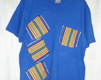 Upcycled Blue T Shirt XL