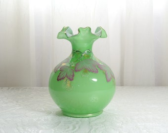 Fenton charleton vase magenta leaves on green overlay Abels, Wasserberg and Company