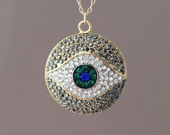 Long Large Gold Evil Eye Pave Crystal Sparkling Necklace 30 32 34 36 inches