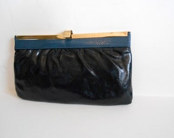 Black Purse Clutch Vintage Navy Snake Skin Trim & Gold Trim Clasp Leather Clutch  Evening bag Party Disco gift for her FREE SHIPPING
