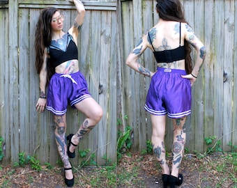 Vintage // Purple Eighties Work Out Shorts // Gym Wear // CYRK Drawstring M // Exercise Basketball