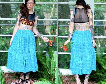 Vintage // Turquoise Jean Maxi Skirt // Trippy Fringe Denim High Waist // Small Bias Cut with Fringe