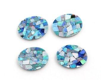 Opal Mosaic, 16x12mm Oval, 4 Stones Genuine Opal Mosaic