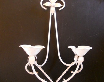 Vintage Wall Sconce Candleholder Victorian White Wrought Iron Candleholder Double Flower