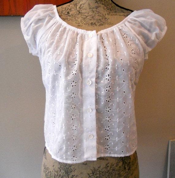 White Short Sleeve Peasant Blouse 116