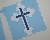 Baptism Banner, Party Decoration, 2 Rows, Blue & White, Religious, Confirmation, God Bless