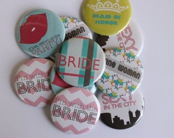 Set of 10 Fun Bachelorette Party Buttons