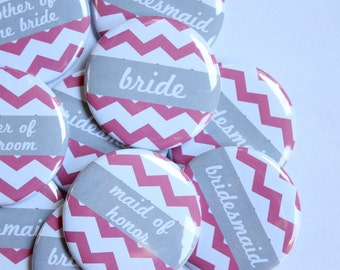 Set of 10 Chevron Bridesmaid Buttons- CUSTOMIZABLE