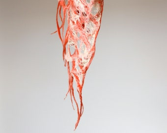 Women felted scarf cobweb felt wool silk shawl - peach coral white - autumn fall scarf - made to order