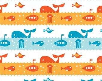 Submarines and Whales Marine Life - Marine Too by Dan Stiles for Birch Organic Fabrics - 1/2 Yard