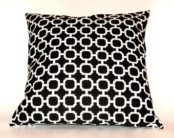 GEOMETRIC PILLOW COVERS Home Decor  Black and White Set of Two 18 x 18