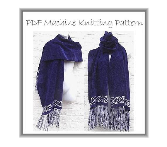 Machine knit pattern PDF luxury shawl wrap chenille 4 ply fair