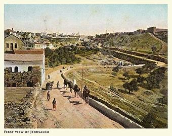 Holy Land - First View of Jerusalem - Antique illustration c1895. Full color PRINT