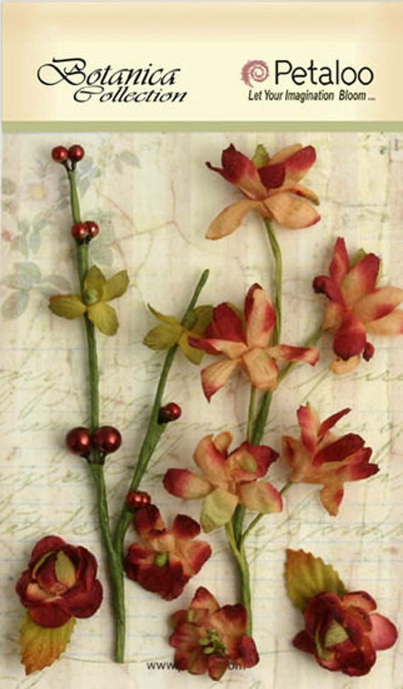 30% OFF TODAY ONLY - Petaloo - Botanica Collection - Floral Ephemera - Cranberry (1100-214)