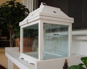 French shabby chic,old white,glass,wood & iron terrarium,greenhouse or display case.