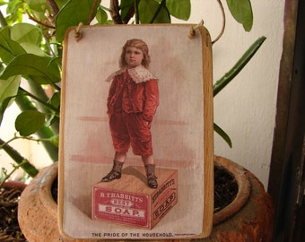 little boy, vintage style soap advertising image, wooden decorative hanging tag, shabby chic