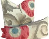 Kravet-Both Sides-Suzani Designer Decorative Pillow Cover-Throw Pillow-Toss Pillow-Misty Rose