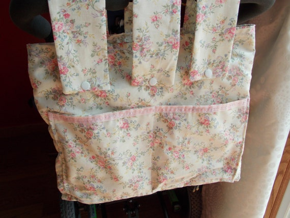 Pink Floral Stroller tote/walker bag/wheelchair bag