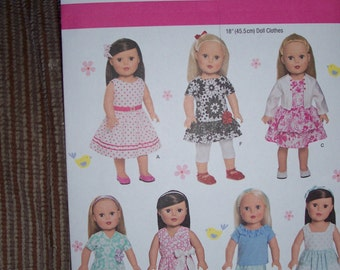 American Girl Doll Clothing Patterns...Simplicity #1484...Uncut...18 Inch Doll Patterns..Several Different  Dresses...Top...Pants..