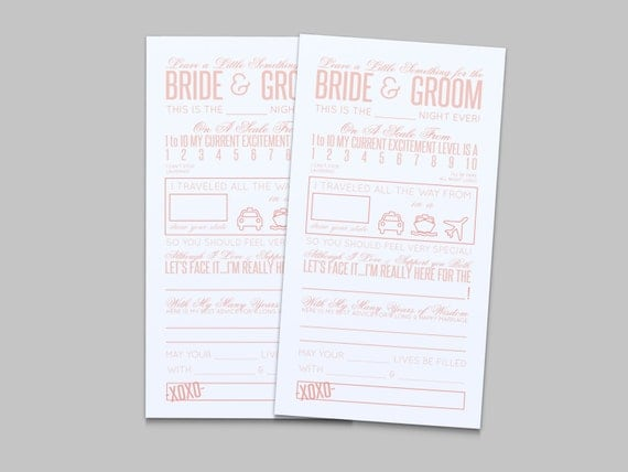 Wedding Reception Comment Card In Pink Instant By LAShepherd