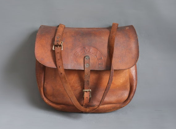 Vintage 1955 Bona Allen Leather U.S. Mail Bag