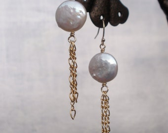 White Coin Pearl earrings w Gold Filled chains