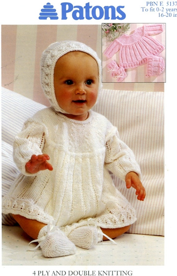 Patons Knitting Patterns For Babies : PATONS BABY LAYETTE Dress Bonnet Bootees knitting pattern 5137