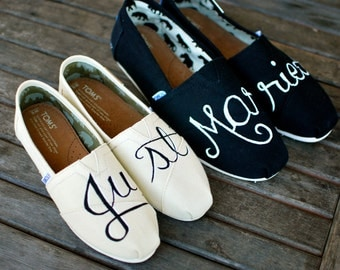 Hand Painted Just Married Toms Shoes - Custom Bride & Groom Wedding Shoes