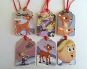 Rudolph the red noses reindeer Christmas tags