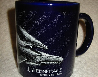 vintage  'Greenpeace'  humpback whale mug . . . by Pieter Folkens . . . .  RARE . . .  from 1985