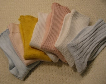 vintage lot of seven pair of womens medium to heavy weight cotton crew socks . . . . . .  . gently worn