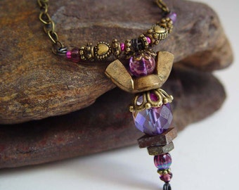 Antique Bronze and Plum Purple Iridescent Beaded Wing Nut Angel Necklace with Heart Beads