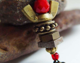 Guardian Angel September 11th Angels on Duty Tribute PIN, Ruby Red & Antique Bronze Upcycled Wing Nut
