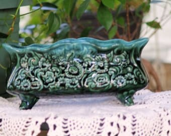 Vintage Hull Blue and Green Drip Floral Planter